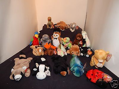 Wholesale Lot(20) Ty Beanie Babies Plush Collectibles Many Retired (Lot 1)