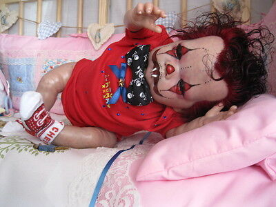 Reborn Baby Clown, Girl Tummy Plate, Rooted Red & Black Hair,dummy, Blood Bottle