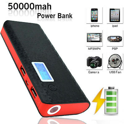 50000mAh 2-USB Battery Portable Charger LCD Mobile Power Bank For Samsung iPhone