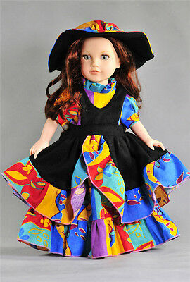 Handmade New Colorful Russian Dress for 18 Inch American Girl Doll With TOP HAT