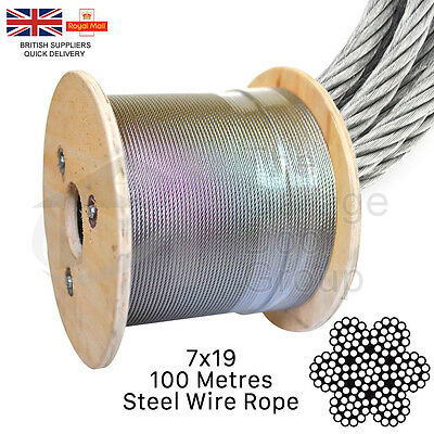 GALVANISED STEEL WIRE ROPE 100mtr Roll 2mm 3mm 4mm 5mm 6mm 8mm 10mm 12mm Cable