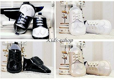 Baby Boys Navy White Black Shiny Pram Shoes Christening Smart Formal Party