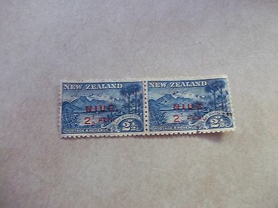 NIUE Cook Islands Stamps SG 2,2a Scott 8,8a CARMINE OVPT WITH NO STOP Pair USED