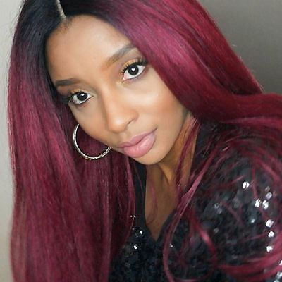 Human hair wig, red, ombre, long, lace front