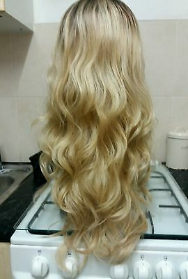 100% Blonde Human Hair Blend wig, ombré, Long, Lace Front, dark roots