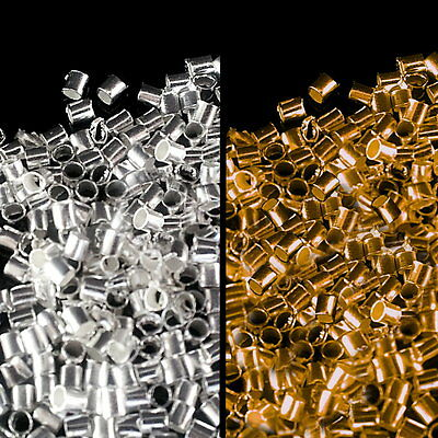 300 or 600 Crimp Tube Beads Silver or Gold Plated 1mm findings jewellery crafts