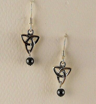 Sterling Silver Irish Celtic Trinity Knot Earrings with Hematite beads