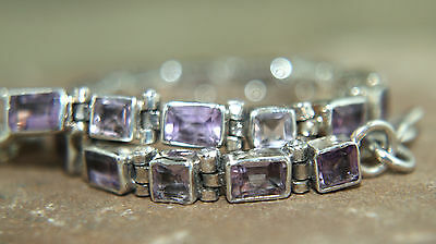 "Amethyst Bracelet Solid 925 Silver Faceted Amethysts tennis  7"" 18cm February"