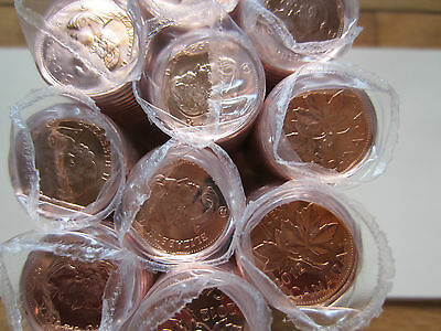 Roll of 2012 Canada Small Cents (50 Coins). RED UNC. Mint Roll (NON MAGNETIC)