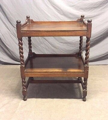 Antique Edwardian Rosewood Two Tier Side Table with Barley Twist Supports