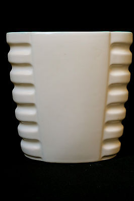 Pristine Catalina Island Art Deco Vase Matte Ivory & Blue Rancho Early Ca 1934