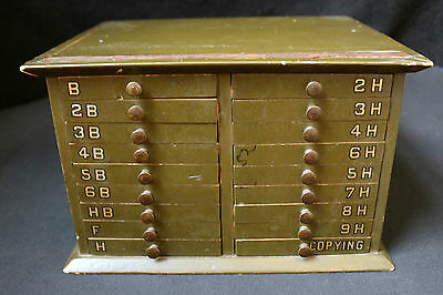 Antique 18 Drawer Type Letter (?) With Stencils Now A Collectors Curio File Box
