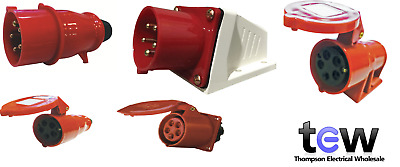 Red 415V 16Amp 5 Pin Industrial Plug  Sockets Ip44 3 Phase 3P+N+E Cee Form