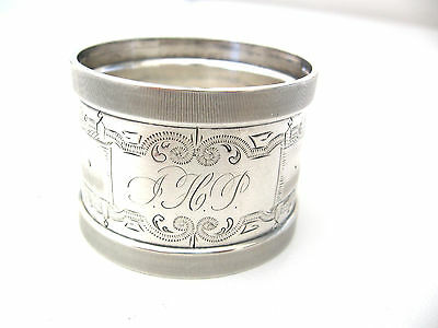 Very early pre-1880 decorated Sterling silver napkin ring