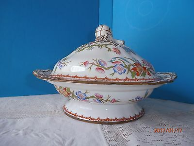 Mintons Cuckoo Covered Vegetable Dish Bud Knob Handle Red Crown Davis Collamore