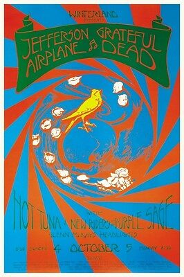 Grateful Dead POSTER Jefferson Airplane *PSYCHEDELIC ARTWORK* Hot Tuna  -LARGE-