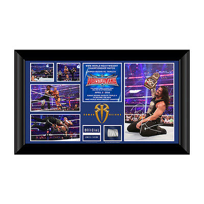 WWE Roman Reigns WrestleMania 32 Signed Commemorative Plaque 219/500 worldwide