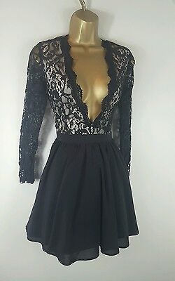 Missguided Black Lace Plunge Party Evening Cocktail Dress Size 8