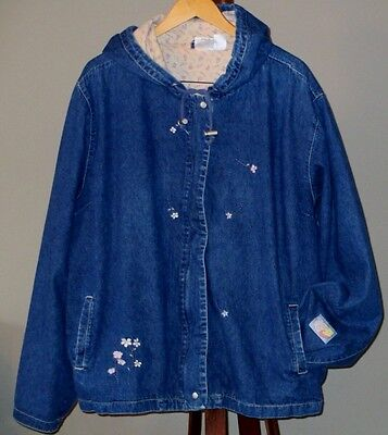 Winnie the Pooh Disney Store Denim Jacket Hoodie Embroidered 2X Plus XXL Spring
