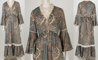 70s Vintage Paisley Hippie Psychedelic Hippie Festival Maxi Lace Gown Dress