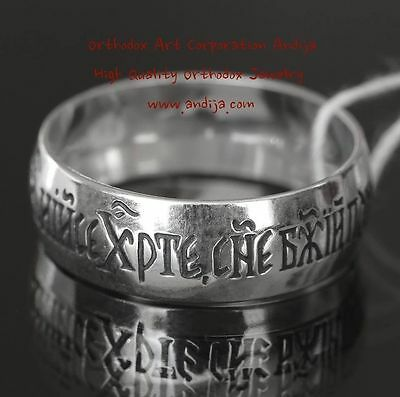 Jesus Chris Prayer Band Silver 925 Christian Russian Orthodox Jewelry Ring New