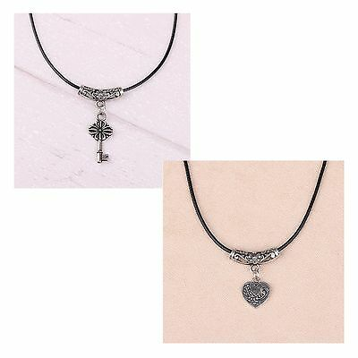 Women's Ethnic Tibetan Silver Key And Heart Pendant Necklace Jewellery Gift UK
