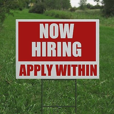 Now Hiring Coroplast Yard Sign With H Stake Business Employee Lawn Directional