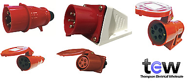 Red 415V 32Amp 5 Pin Industrial Plug & Sockets Ip44 3 Phase 3P+N+E Ceeform