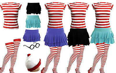Women's Girls  Red & White Stripes T-Shirt Complete Outfit Kit Hen Party Costume