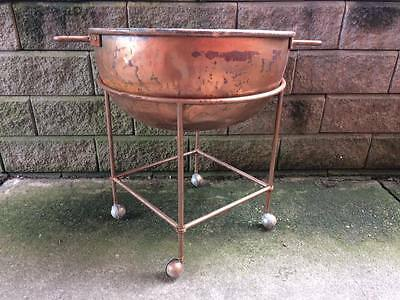 Large 26 inch antique copper butter pot and stand
