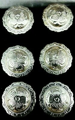 NEW BUTTON COVERS Round SILVER DOME Western FLORAL Style Wedding Fancy Buttons