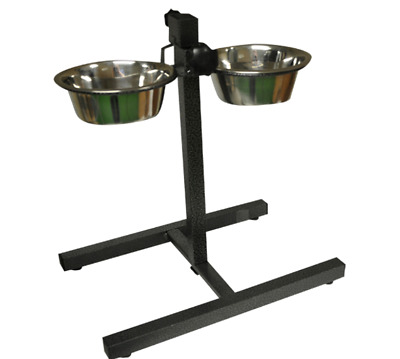 RAISED TWIN-BOWL FEEDER - Pet Dog Cat Stainless Steel Feed Water Bowls dm Dish k