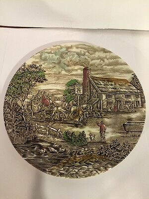 "The Post House 8"" Genuine English Ironstone Plate By Wood & Sons"