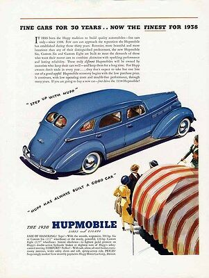 HUPMOBILE Car Auto Ad 1938 - Blue 4 Door Sedan in Blue White Sidwall Tires