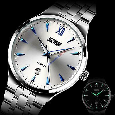 SKMEI Waterproof Men's Dress Stainless Steel Luminous Quartz Analog Wrist Watch