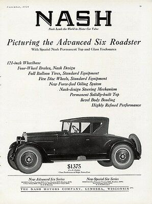 NASH Car Auto Ad 1925 Two Door ROADSTER Glass Enclosures were Extra Cost