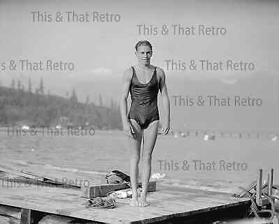 Handsome young man in swim suite, vintage photo, 1935 gay interest