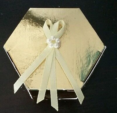 Favour gift box ideal for wedding or jewellery gold with lemon ribbon