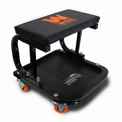 Mechanic Creeper Seat Garage Rolling Work Shop Stool Cart Tray Onboard Storage