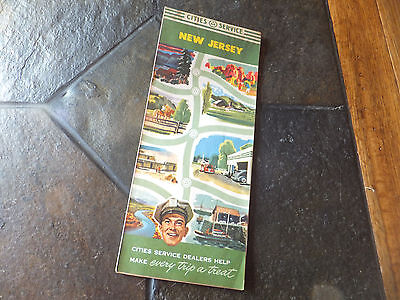 Vintage 1950 CITIES SERVICE Gas Station New Jersey Road Travel Map