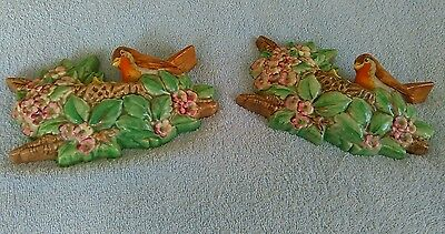 Pair of Beswick Robin wall plaques