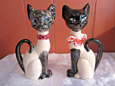 "Vintage siamese cat salt and pepper shakers 6"" tall collectible"
