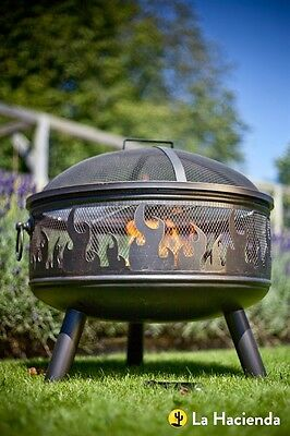 Fire Pit With Lid Outdoor BBQ Grill Fire Bowl Garden Fireplace Patio Heater Camp