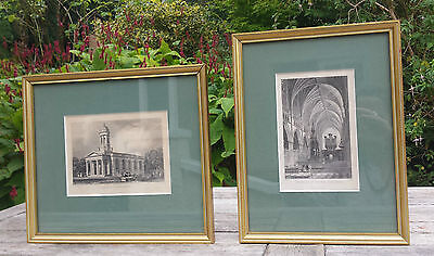 Pair Antique Framed Engraved Prints Exeter Devon Cathedral St Davids Church 19th