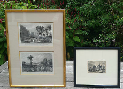 3 Antique 19th C Framed Engraved Prints Exeter Devon Corrections House River Exe
