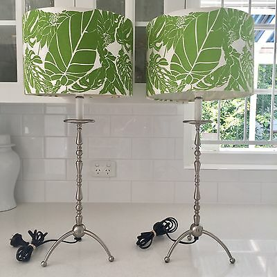 PAIR Silver Metal Table Lamps Green White Tropical Floral Fabric Shades Retro