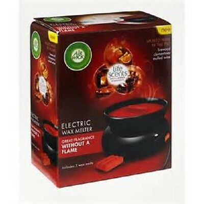 Air Wick Electric Wax Melter MULLED WINE BY THE FIRE complete with 3 wax melts