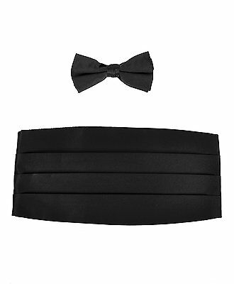 Mens Poly Satin Bow Tie and Cummerbund Sets, Black