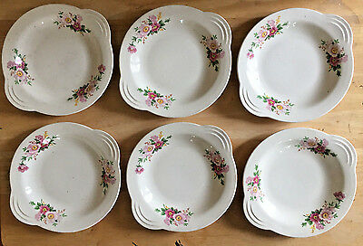 Vintage Shallow Bowls with Tab Handles Pink Flowers Set of 6 Unmarked