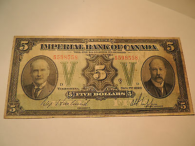 1923 Imperial Bank Of Canada $ 5 Five Dollars Howland Phipps 375-18-02 S 598558